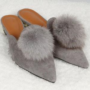 NEW POL grey suede mules fur pom pom in box gray